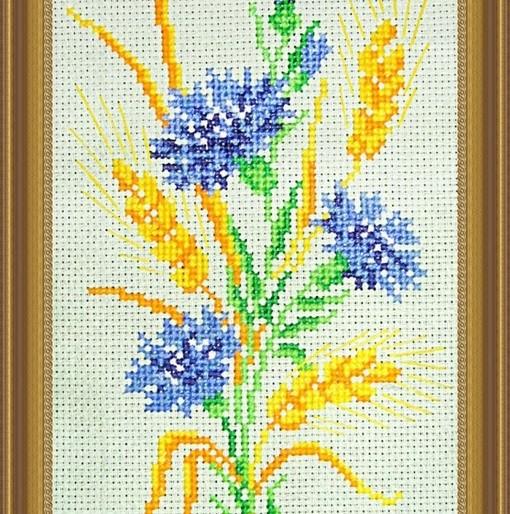 вышивка цветов васильков крестом нити магазинов России других