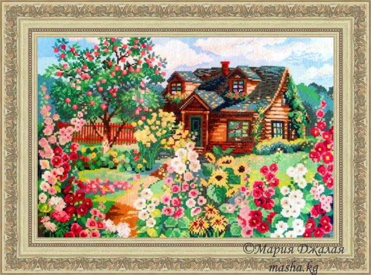"""Процесс вышивки """"Цветущий сад"""""""