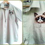 Вышивка Grumpy Cat (в кармашке на рубашке)