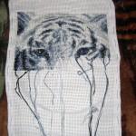 """Процесс вышивки """"Белый тигр"""""""