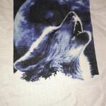 """Процесс вышивки по фото """"Воющий волк"""""""