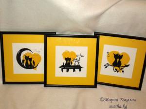 Влюбленные коты (монохромная вышивка)