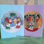 Новогодние открытки, вышивка крестом