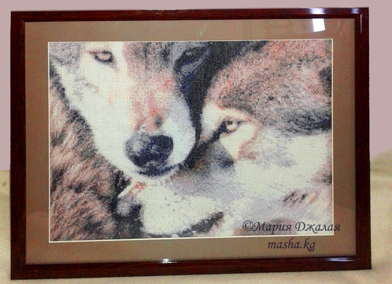 """Вышивка """"Пара волков"""" (по фото)"""