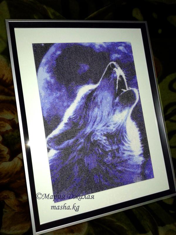 """Вышивка """"Воющий волк"""" (по фото)"""